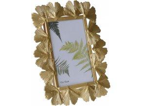 Kovový fotorámeček Ginkgo gold 22x17 cm