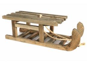 Dekorace dřevěné sáňky Lambi L natur