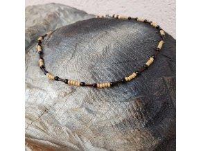 Stephan Pánský náhrdelník (dřevo, sklo)1