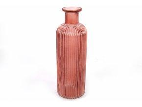 Skleněná váza růžová 36x12 cm