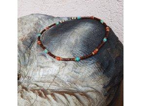 Bill Pánský náhrdelník (tyrkys, korál, dřevo)1