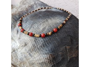 Bill 3 Pánský náhrdelník (dřevo, korál)1