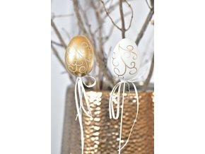 Plastová vajíčka na špejli Gold-White curl s/6, 6 cm