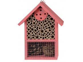 Dřevěný hmyzí hotel 15x8x20 cm, růžový