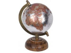 Otočný globus stříbrný 21,5 cm