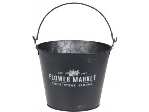 Plechový kyblík FLOWER MARKET 19x23,3 cm, šedý
