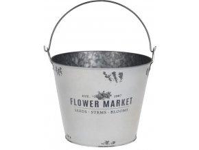 Plechový kyblík FLOWER MARKET 19x23,3 cm, bílý