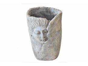 Cementový květináč hlava 20,5x14,5 cm