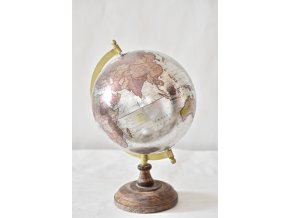 Otočný globus stříbrný 24 cm, II.jakost