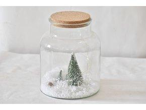 Vánoční skleněná dóza 22x17 cm, II. jakost