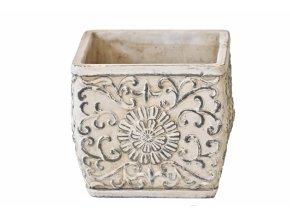 Cementový květináč Ornament 16x18x18 cm