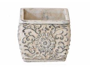 Cementový květináč Ornament 13x15x15 cm