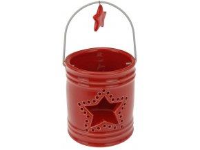 Porcelánová lucernička červená s hvězdičkou 8x7 cm