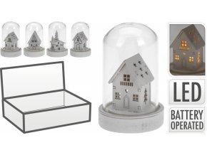 Svítící dřevěný domeček ve skle 9x5,5 cm, mix druhů