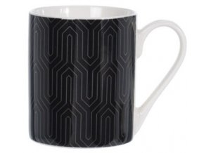 Porcelánový hrnek černý se zlatým ornamentem C, 300 ml