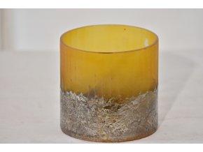 Skleněný svícen krémový 11x10 cm, II.jakost