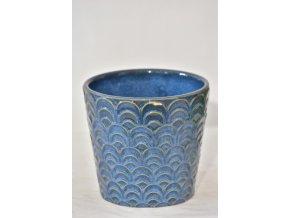 Keramický květináč modrý, 13,8x12,8 cm, II.jakost