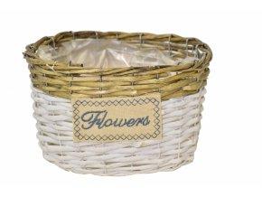 Proutěný košík Flowers oválný 13,5x21,5x17 cm