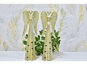 Plechový anděl Hearts svícen, champagne 38,5 cm
