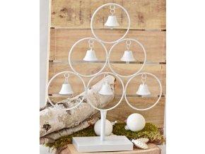 Kovový strom se zvonečky 42 cm, bílý