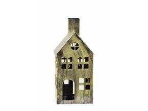 Kovový domeček na čajovou svíčku, champagne, 28x14x12,5 cm