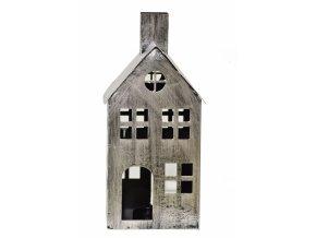 Kovový domeček na čajovou svíčku, stříbrný, 36x16,5x15 cm