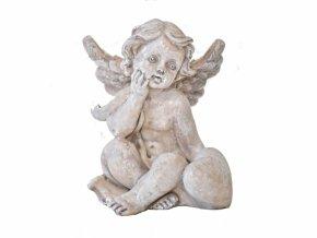 Barokní anděl se srdíčkem, šedý
