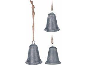 Kovový zvonek šedý 13x9 cm, mix druhů