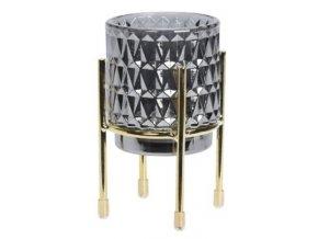 Skleněný svíce šedý C na kovovém stojanu, 12,5x7 cm