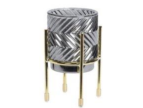 Skleněný svíce šedý D na kovovém stojanu, 12,5x7 cm