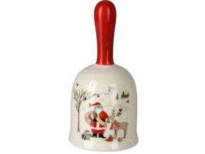 Vánoční keramický zvonek Santa se sobem 13x7 cm