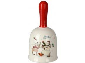 Vánoční keramický zvonek sněhulák se sobem 13x7 cm