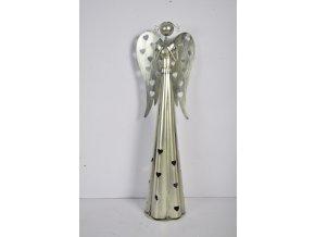 Plechový srdíčkový anděl na čajovou svíčku, 38 cm, champagne