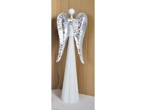 Plechový anděl Mary se stříbrnými křídly, 49 cm