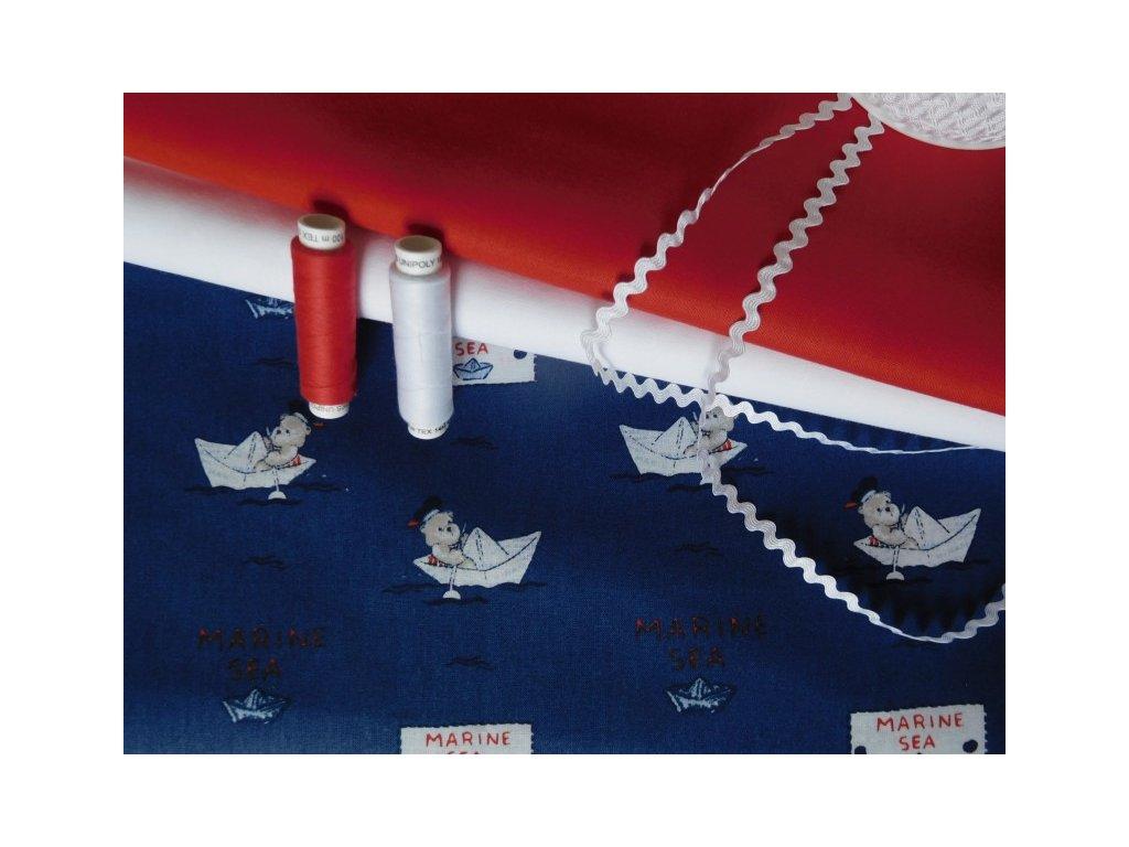 Marine, loďky, medvídci-modrá látka-bavlna-metráž