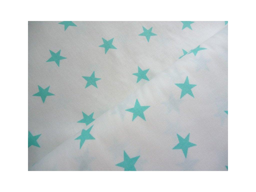 Hvězdy mentolové - bílá látka - metráž - 150cm