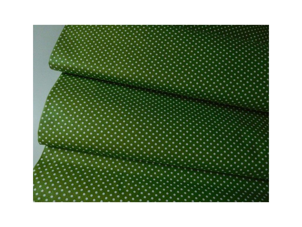 Bílé puntíčky-zelená látka - metráž 140cm