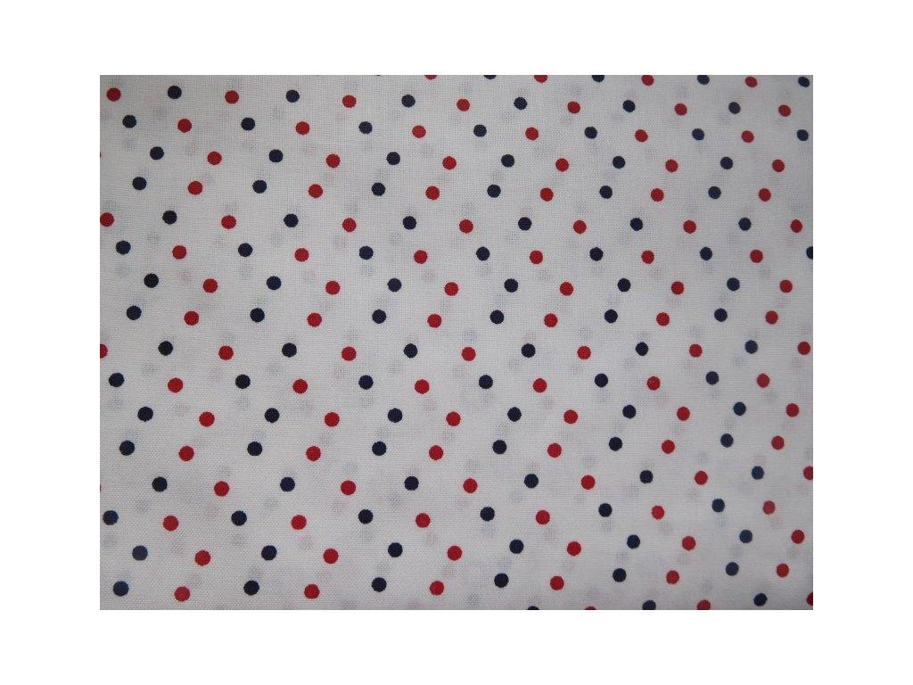 Červeno-modrý puntík - bílá látka - metráž