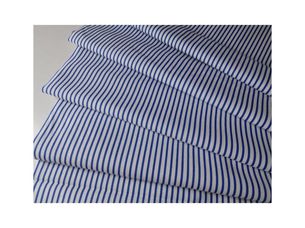 Proužek tenký-bílo modrý - metráž