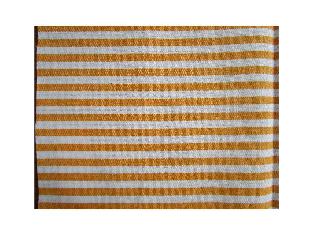 Kanafas pruh 0,5cm - metráž - žluto-oranžová látka - plátno - bavlna