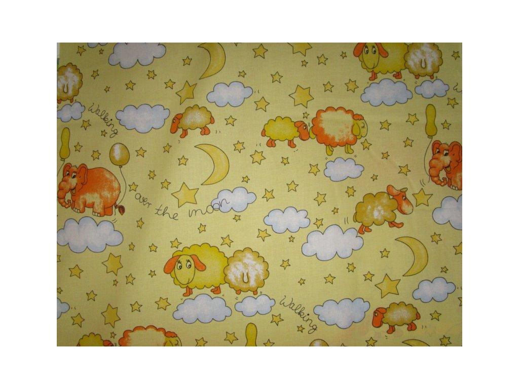 Ovečky a sloni-světle žlutá látka-bavlna-dětská metráž