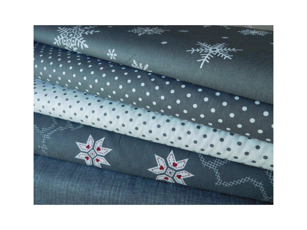Bílé puntíky - šedá látka - plátno -bavlna - metráž - 150 cm