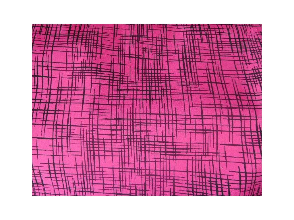Růžový softshell - potisk - metráž