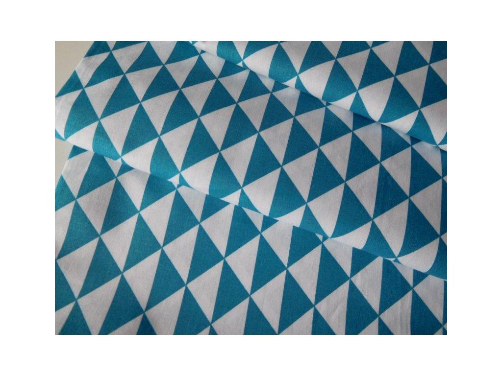 ZBYTEK 2,47m - Tyrkysové a bílé trojúhelníky - metráž