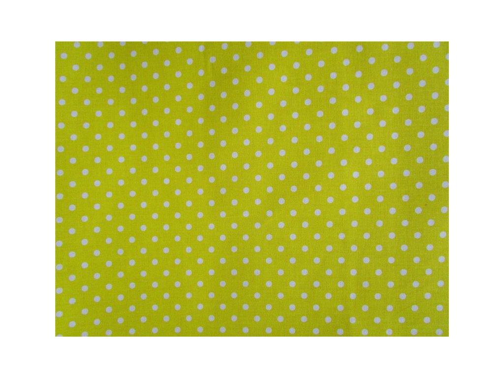 Bílé puntíky - žlutá látka-metráž