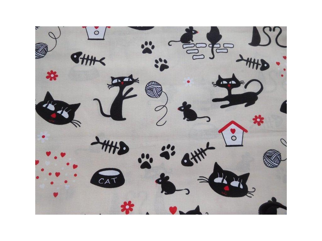 Kočky, myšky, tlapky - smetanová látka - metráž