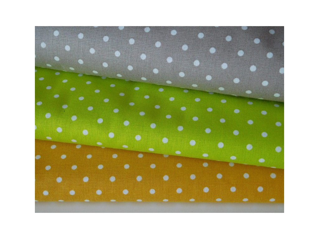 Bílé puntíky žluto-oranžová látka - metráž
