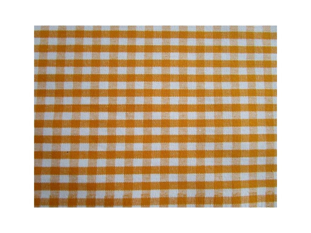 Kanafas kostka 0,5cm metráž - žluto-oranžová látka - plátno - bavlna