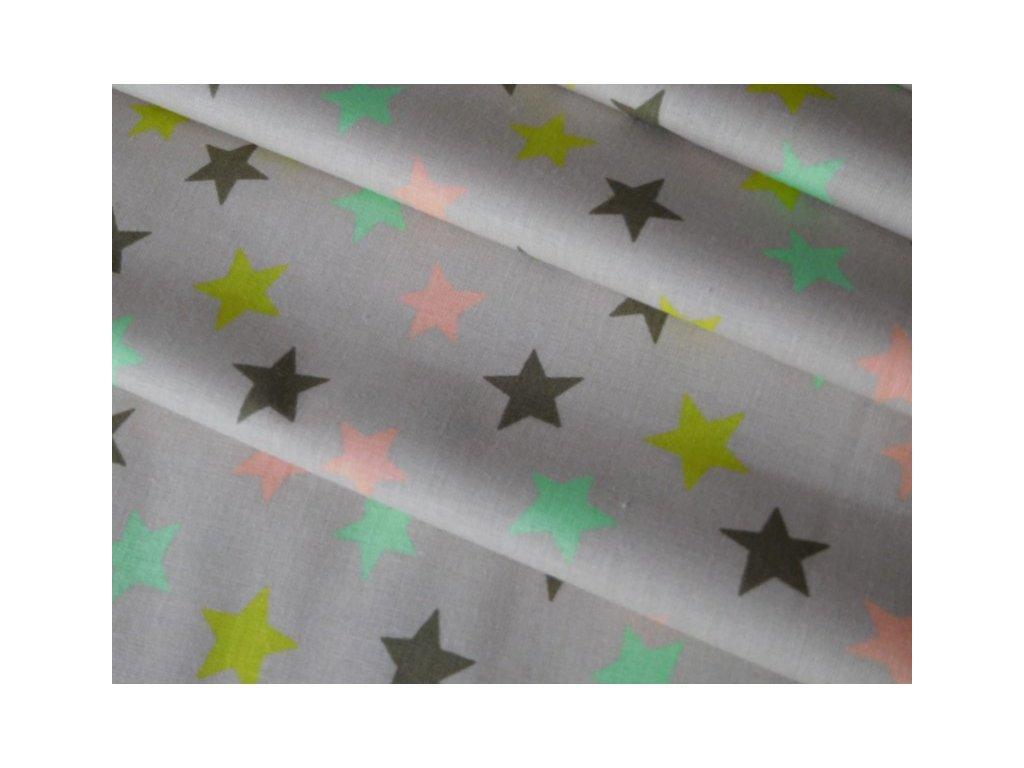 Barevné hvězdy na šedobéžové - látka - metráž