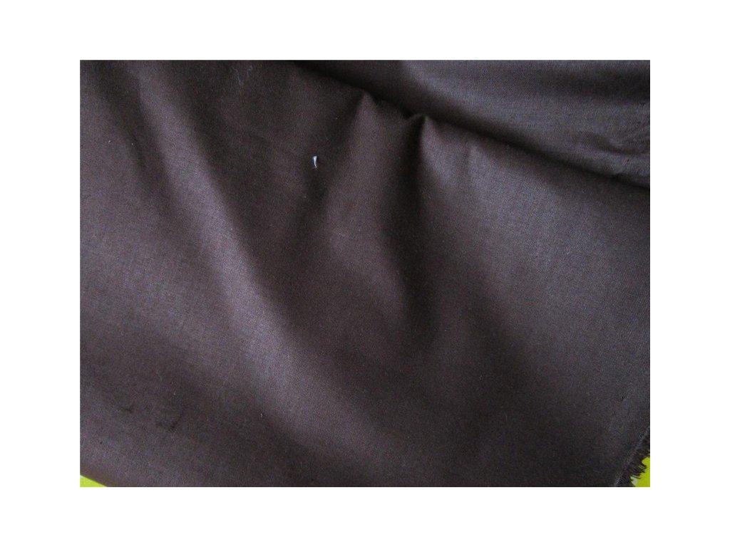 Tmavě hnědá látka-plátno-bavlna